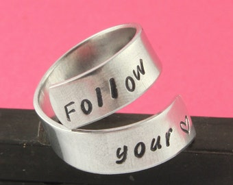 SALE - Follow Your Heart Wrap Twist Ring - Adjustable Aluminum Ring - Handstamped Ring - Valentine's Day