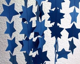 Navy Blue Garland, Paper Star Garland, Birthday Party, Wedding Garland, Bridal Shower Decor, Photo Prop, Romantic Garland