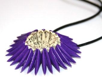 Purple Origami Sunburst Necklace - Paper Necklace