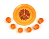 Vintage orange plastic egg cups with tray / serving plate. Printed floral design. Emsa West Gremany. 60s /70s