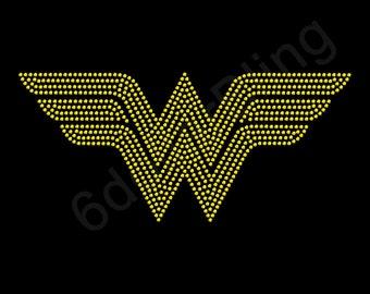 "Rhinestone Iron On Transfer ""Wonder Woman Logo"" Superhero Crystal Bling Design - Make Your Own Shirt DIY!"