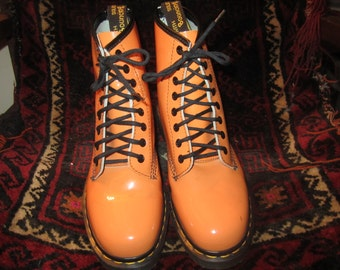 Vtg. Doc Marten Orange Patent Leather Boots Size UK 6 US 8 Made In England