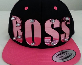BOSS custom 3d pink mirrored acrylic snapback cap hat bolted