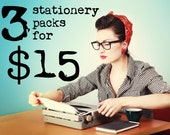 Stationery Bundle: 3 Stationery Packs for Fifteen Dollars