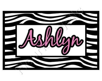 Baby Girl Nursery Wall Decal - Personalized Zebra Print Decal - Girl Name Decal - Nursery Name Decal - Nursery Decal - Girl Wall Decal CN024