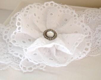 White Eyelet Lace Flower Headband - Newborn Photo Prop - Baptism Headband