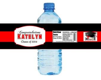 Graduation Water Bottle Label, Party Favors  - Digital File