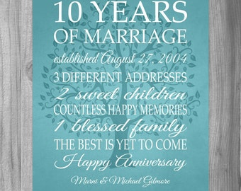 Wedding Anniversary Gift Ideas 10 Years : 10 year anniversary gift print wedding anniversary personalized print ...