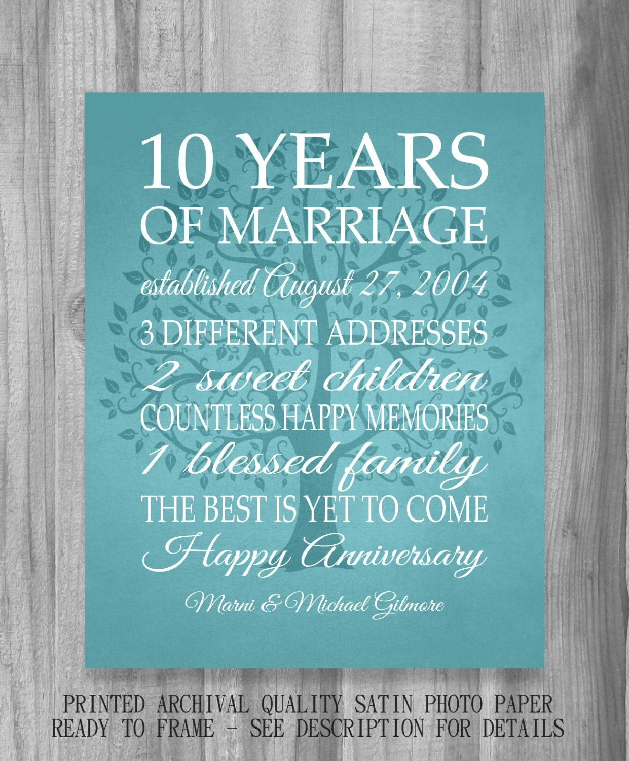 10 year anniversary gift print wedding anniversary for Best marriage anniversary gifts