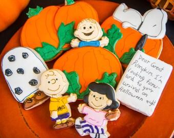 One dozen It's the Great Pumpkin, Charlie Brown cookies