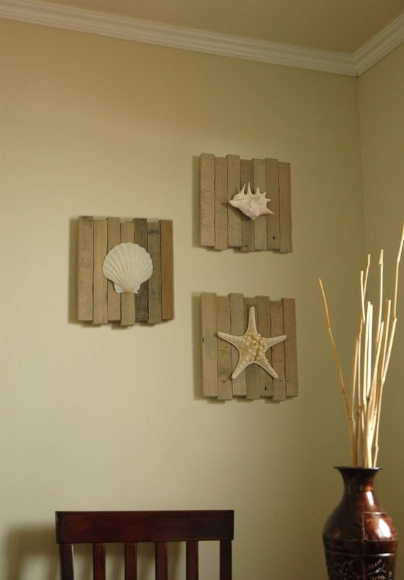 Beach wall decor set of 3 seashell beach decor by for Coastal wall decor ideas