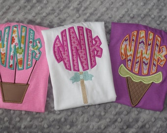 Summer Monogram Appliqued Shirts or Onesies-- Hot Air Balloon, Lollipop, or Ice Cream Cone