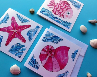 Ocean Square Greeting Card Set. Blue and Pink Watercolor Painting. Starfish, fish and sea shell. Art Collectibles. Gift for Her. Wall Decor.