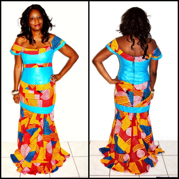 Dress ankara mermaid formal dress holiday party dress gift for her by