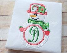 Christmas Monogram Snowman Snowgirl Winter Applique T-Shirt - Girls Applique Holiday Shirt Monogram Snowflake Shirt