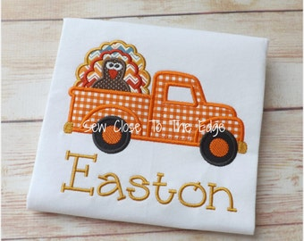 Thanksgiving Turkey Truck Boys T-Shirt - Personalized - Applique Shirt - Toddler - Youth - Boy Retro Truck Embroidered T-Day Shirt