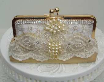 French Vintage / Vintage Wedding / Gold Wedding /  Lace Wedding Clutch / Pearl Wedding Clutch