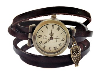 "Wrap Watch, Bracelet Watch, Wrist Watch, Vintage Watch for women ""Owl"" Leather Bracelet: dark brown"