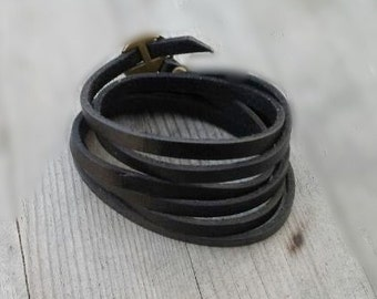 Leather bracelet for replacement for winding watches black 41""