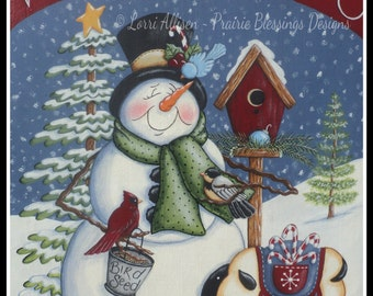 Snowman and birds Winter Friends painting pattern packet instant download