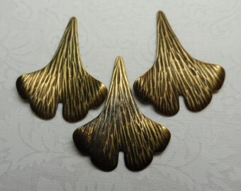 "Vintage gold plate brass ginkgo leaves,1&3/8th"", 3pcs-KC164"