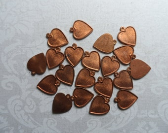 """Raw copper or silver plate solid heart charms,1/2"""",20pcs-CHM91"""