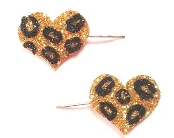 10% off with the code BDAY10  1950's inspired Rockabilly Leopard Print Heart Bobby Pins