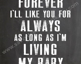 I'll Love You Forever Quote - Chalkboard Style Printable - Digital File - Wall Art