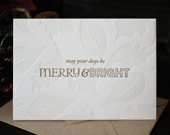 Merry & Bright Letterpress Notecards - Set of 6
