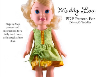 Pixie Faire Aha Customs Maddy Lou Dress Doll Clothes Pattern for Disney Toddler Dolls - PDF