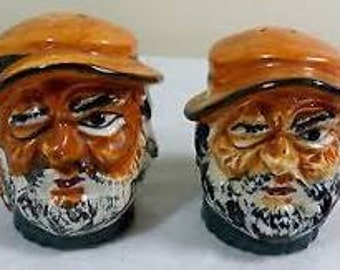 Set of Toby Style Salt & Pepper Shakers (Grumpy Winking Old Man)