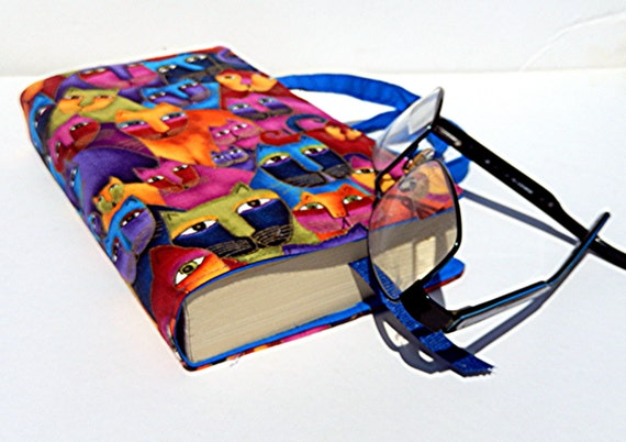 Fabric Paperback Book Covers With Handles : Cat fabric paperback book cover