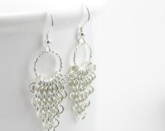 European 4 in 1 Chainmaille Earrings, Sterling Silver Earrings, Drop Earring, Chainmaille Jewellery, Sterling Silver 925
