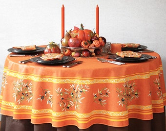 70 inches Round Indoor or Outdoor Tablecloth Provence Olives in Saffron - Umbrella Hole and Baskets available -
