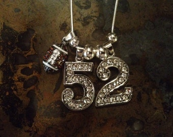 "22"" Personalized Rhinestone Sports Jersey TWO Number Necklace FOOTBALL Charm MOM"