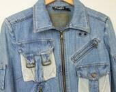 Vintage DOLCE & GABBANA Women's Light Blue Denim Jacket with Mesh Size S