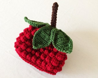 Baby Red Raspberry Hat - 0 to 3 Months, 3 to 6 Months, 6 to 12 Months - Cranberry Red - Fruit, Berry, Harvest