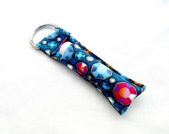 Jewels Chapstick Keychain - Jewel, Ruby, Blue, Pink, Bejewled Lip Balm Holder Cozy