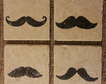 Natural Tumbled Marble Stone Mustache Coasters