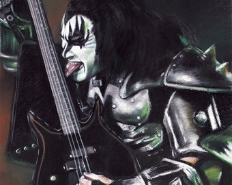 """The Kiss, Gene Simmons, painting, poster, print, reproduction, drawing by artist eugene, 16""""x20"""",22.4x28"""""""