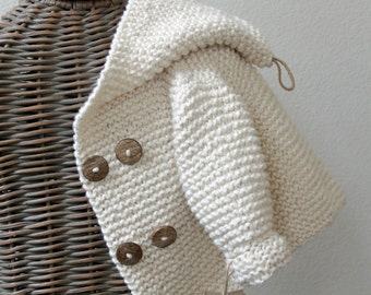 Hand knitted Handmade Baby Organic Cotton Sweater Coat Size 0-6 months