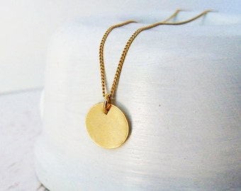 Gold Filled Necklace / Thin Disc Pendant / Gold Filled Round Pendant / Gold Filled Charm / Gold Necklace