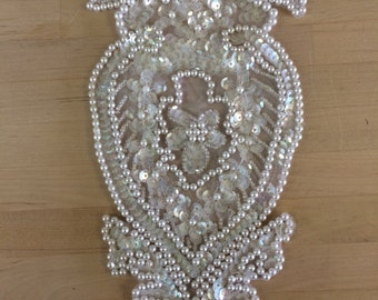 White Beaded Bridal Applique