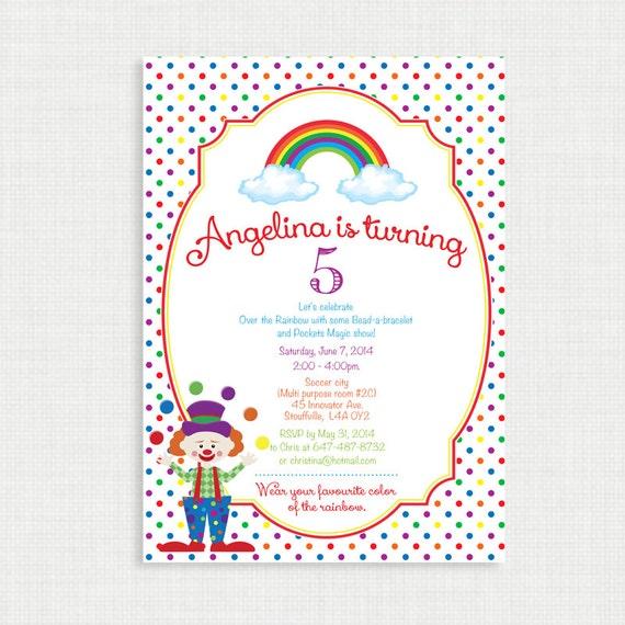 Printable Birthday Invitation- Rainbow Birthday Invitation, Clown Birthday Party Invitations, DIY,  Printable Template, Digital