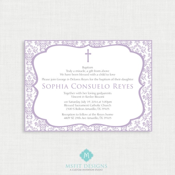 Printable Baptism Invitation - Lavender Printable Invite - Christening, First Communion, Dedication, Baby Blessing