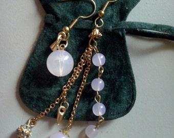Asymmetric pair of earrings, lila earrings, long dangling earrings, chain earrings (SAK 6)