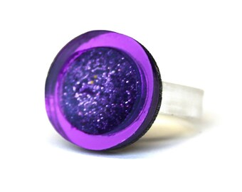 Purple Glitter Resin Geometric Perspex Ring