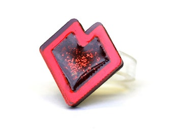 Red Glitter Resin Geometric Sterling Silver Ring
