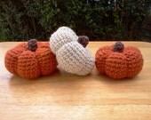 Stuffed Pumpkins, Crochet Pumpkins Fall Pumpkins, Set of 3 Acrylic Wool Burnt Orange Natural, Fall Decor, Autumn Decor - READY TO SHIP