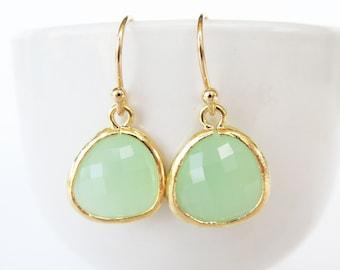 Mint Earrings. Gold and Mint Glass Earrings. Mint Weddings Jewelry. Mint Bridesmaids Earrings. Mint Green Earrings Mint Green Glass Earrings